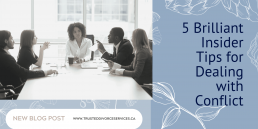 How to deal with conflict - a picture of a group of coworkers sitting around a boardroom table in conflict