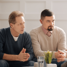 Same sex couple, male, in mediation